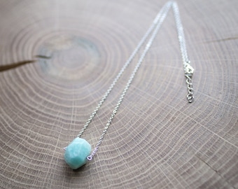 Blue amazonite necklace, delicate simple everyday
