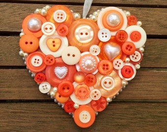 Hanging button heart, orange, peach and ivory, wedding, Bridesmaid or birthday gift