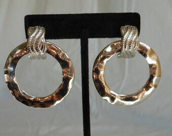 1980s Large Silver Rippled Hoop Earrings. Mod Style Silver Hoop Earrings. Large Unique Silver Hoop Earrings. Silver Hoop Earrings