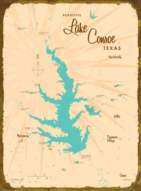 Lake conroe tx map wood or metal sign for Lake conroe fishing map