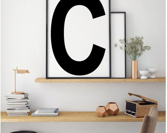 Letter Print, Scandinavian Black and White, Modern, Custom Printable, Typography print, Black and White Printable, Scandinavian Letter