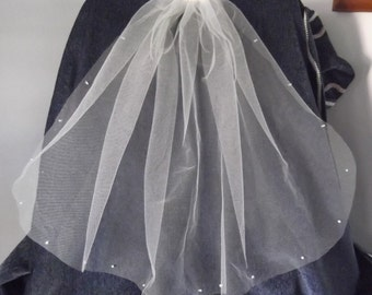 IvoryPearl Edged  Single Tier Cut Edge Bridal Veil, Waist Length