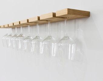 Oak Wall Mounted Wine Glass Rack - Floating Oak Wine Rack