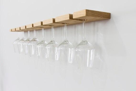Oak Wall Mounted Wine Glass Rack Floating Oak Wine Rack