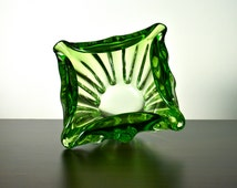 Beautiful green art glass freeform bowl or vase. Apple green and clear cased glass. Murano? Square form and heavy. Retro.