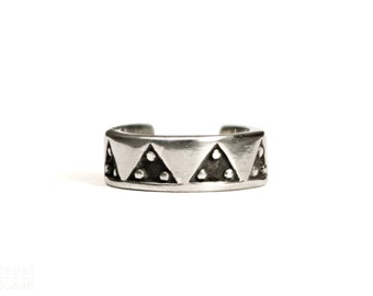 Sterling Silver Ear Cuff Earring Aztec Triangle Dots Piramyds Ear Wrap Earrings Boho Jewelry - ECU002