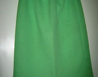 60's Bright Lime Green Crimplene Pencil Skirt - size 36 / 14 UK