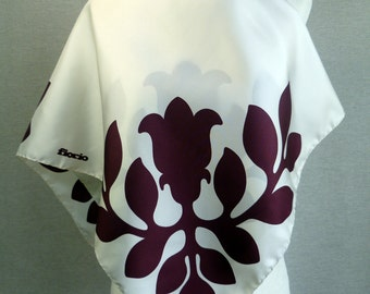 Vintage Silk Fiorio for Holt Renfrew Large Square Scarf White Plum Purple
