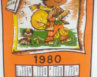 Vintage 1980 Drummer Boy Calendar Tea Towel Funky Orange