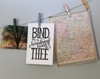 Bind My Wandering Heart to Thee on Canvas Paper-Handmade