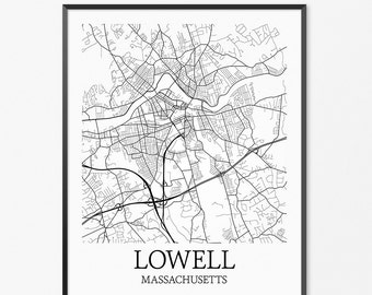Lowell Map Art Print, Lowell Poster Map of Lowell Decor, Lowell City Map Art, Lowell Gift, Lowell Massachusetts Art Poster