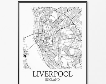 Liverpool Map Art Print, Liverpool Poster Map of Liverpool Decor, Liverpool City Map Art, Liverpool Gift, Liverpool England Art Poster