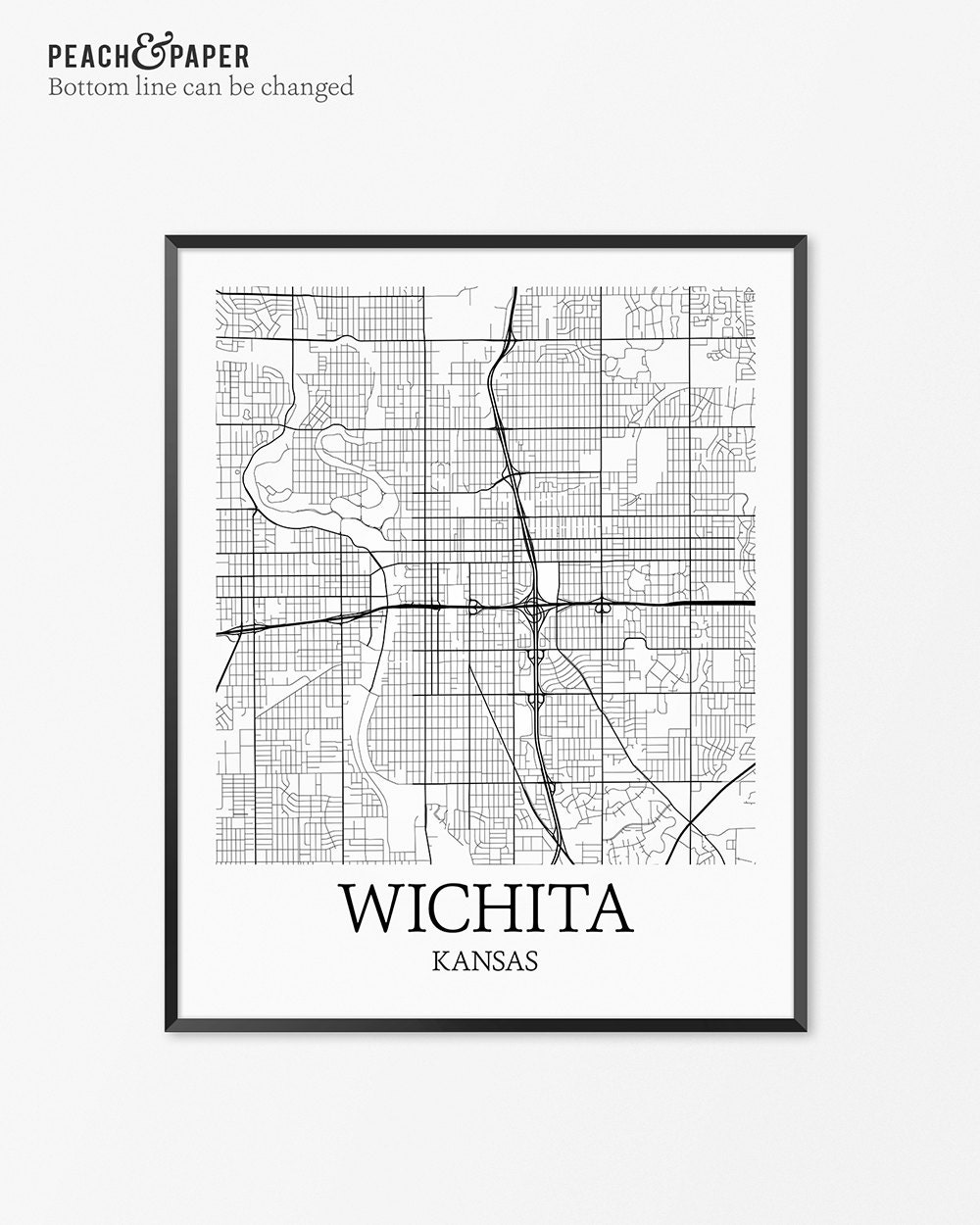 Wichita map art print wichita poster map of wichita decor for Craft stores wichita ks