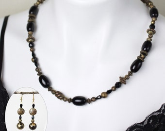 """Jewelry Set - Black and bronze beaded necklace (22"""") and matching earring set - #1020"""