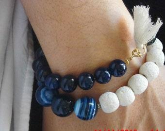 Agate Bracelet,Beaded Bracelet,Blue Bracelet,Lava Gemstones,Impressive Design,Jewelry for her,Blue Agate,Gemstones Bracelet,Ready to ship