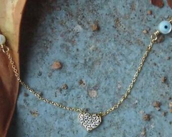 Heart gold 14kt,Evil Eye Ivory,White zirconia,Heart Necklace,Valentines gift,Women,Gift for her,Birthday,Bridal Gift,Wedding Gift,Engagement
