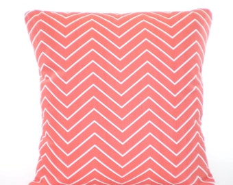 Coral Chevron Throw Pillow Covers, Cushion Covers, Decorative Throw Pillow, Coral Chevron Couch Couch Sofa Bed Pillows One or More All Sizes