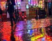 London print London photography London decor London art rainy day colourful prints rain photography Ed's Diner colorful wall art