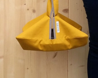 mustard yellow pie bag - lined cotton coated