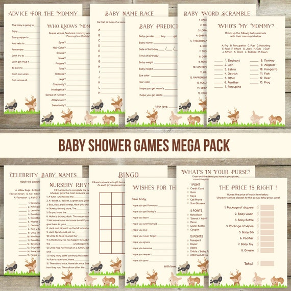 12 woodland baby shower games baby shower bingo advice for the