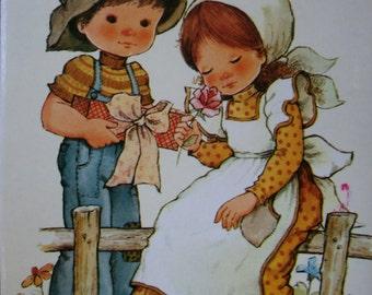 Vintage card.Christmas gift.Ready to frame.80s poster.Romantic. Navidad..Precious Moments.Nursery decor.Gift for girl.Love.Print.