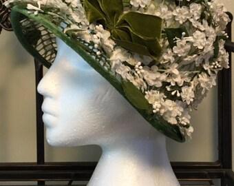Vintage Frederick and Nelson Floral Brimmed Hat with velvet trim