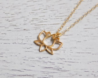 Gold Lotus Necklace, Vermeil Gold Lotus Flower Charm, 14K Gold Filled Delicate Chain, Dainty Pendant, Minimalist Padma, Waterlily Charm Gift