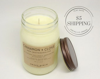 Large Cinnamon Candle - Soy Cinnamon and Clove - Cinnamon Roll Candles - Mason Jar Candle - Clove candles
