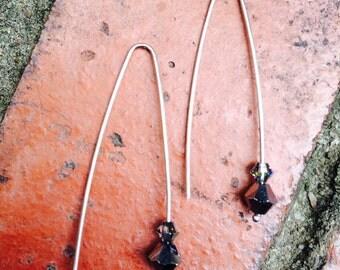 Crystal Drop Earrings - Sterling Silver