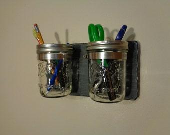 Mason Jar Caddy - Storage - Organizer - Distressed Dark Gray Finish - (2) Pint Wide Mouth Mason Jars - Hangers Pre-Installed On The Back