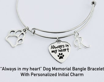 Dog Memorial Jewelry. Pet Memorial. Pet Jewelry. Bangle Bracelet. Dog Bracelet. Angel Dog. Initial Jewelry. Dog Paw. Dog Paw Jewelry