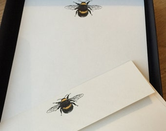 Writing Paper Boxed set with Bumble Bee Illustration. Luxury writing paper with drawing of Bumble Bee