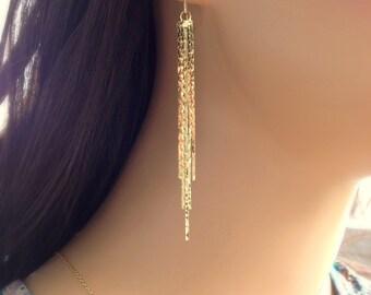 Long Chain Earrings, Chain Tassel Earrings, Gold Dangle Earrings, Formal Earrings, Silver Chain Earrings, Long Tassel Earrings, Chain Fringe