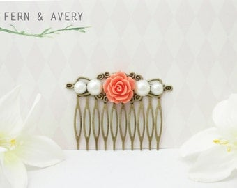 Coral pink, white pearl and gold bronze hair comb. Coral hair clip. Wedding bridal hair.