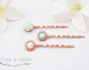 Rose gold hair pins. Pale green, pale turquoise and creamy white bobby pins. Rose gold hair clips