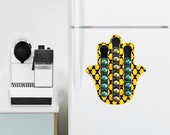 Yellow Black Hamsa Nespresso Coffee Pod Holder, Magnetic Counter Top Organizer Storage, Hamsa Hand Gift, Hamsa Decor, Protective Hand Gift