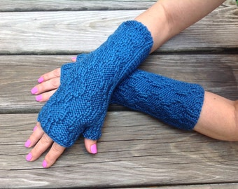 Knit fingerless gloves, blue knit gloves, knit arm warmer, texting gloves, cable knit gloves, driving gloves, knit mittens, knitted gloves