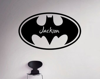 Custom Name Batman Wall Decal Superhero Emblem Vinyl Sticker - Superhero vinyl wall decals