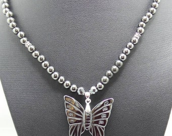 Handmade beaded Hematite necklace with Hematite Butterfly pendant.
