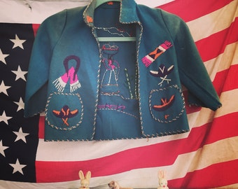 Vintage Kids Embroidered Mexican Jacket