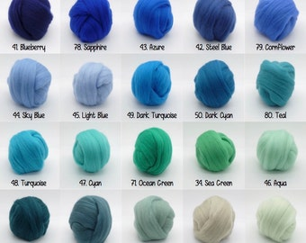 Felting wool roving 84 PICK ANY COLORS!! (very soft) needle felting wool rainbow color roving