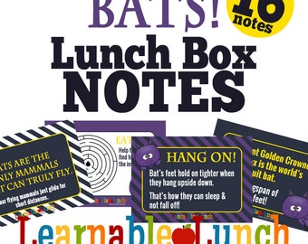 Halloween Lunch Box Note Printable Bats Facts Activities Boys Girls
