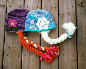 Elsa Hat- Anna Hat- Olaf Hat- Frozen Hats- Crochet Hat- Custom Order- Photography Prop- Photo Prop- Disney Inspired- Disney- Frozen-