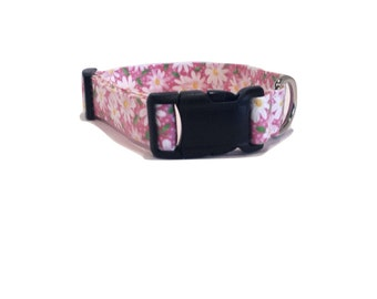 Pink Daisy Dog Collar Flowers Daisies Fabric Adjustable Elegant Floral white XS Mini Puppy Small Medium Extra Large XL
