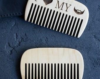 Brosse à Noël vente en bois barbe peigne poche barbe gravé peigne pour peigne à moustache homme peigne cadeau papa pour lui toilettage kit soin barbe B