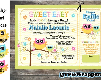 Printable Sweet Baby Owl Baby Shower Invitations Personalized attached Raffle Ticket Party Favor Boy and Girl Designs in Pink Blue Orange