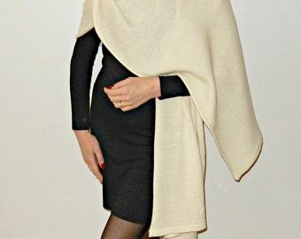 Woman shawl, knit scarf, knitted shawl, ivory scarf, wool shawl, spring scarf