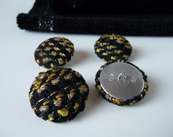 Buttons made from my Black & Gold Handwoven Fabric