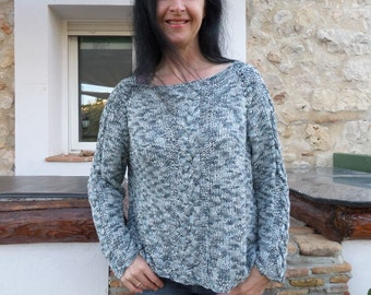 hand knitted cabled silver-grey jumper