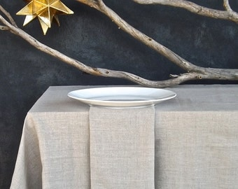 Rustic Linen Tablecloth, Eco friendly Tablecloth, Unbleached Linen Tablecloth, Organic Flax Tablecloth, European Linen, made in the USA
